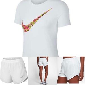 Nike Tops - Nike White Tee And Shorts In Size-L